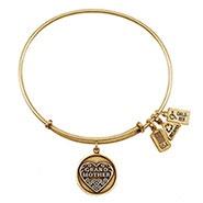 Wind and Fire Grandmother Charm Gold Bangle Bracelet