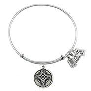 Wind and Fire Celtic Cross Charm Bangle Bracelet