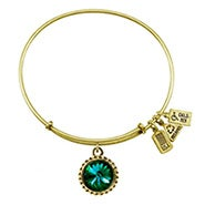 Wind and Fire May Swarovski Birthstone Charm Gold Bangle Bracelet