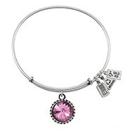 Wind and Fire June Swarovski Birthstone Charm Bangle Bracelet