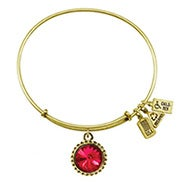 Wind and Fire July Swarovski Birthstone Charm Gold Bangle Bracelet