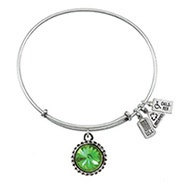 Wind and Fire August Swarovski Birthstone Charm Bangle Bracelet