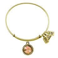 Wind and Fire November Swarovski Birthstone Charm Gold Bangle Bracelet