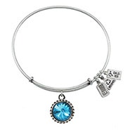 Wind and Fire December Swarovski Birthstone Charm Bangle Bracelet