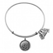 Wind and Fire Letter A Initial Charm Bangle Bracelet