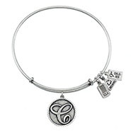 Wind and Fire Letter C Initial Charm Bangle Bracelet
