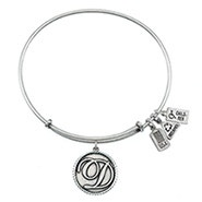 Wind and Fire Letter D Initial Charm Bangle Bracelet