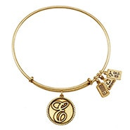 Wind and Fire Letter E Initial Charm Gold Bangle Bracelet