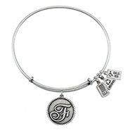 Wind and Fire Letter F Initial Charm Bangle Bracelet
