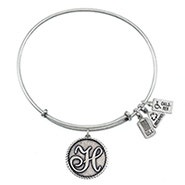 Wind and Fire Letter H Initial Charm Bangle Bracelet
