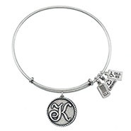 Wind and Fire Letter K Initial Charm Bangle Bracelet