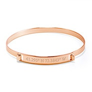Custom Coordinate Hinged Bar Rose Gold Bangle Bracelet