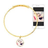 Round Gold Bezel Frame Color Photo Bangle