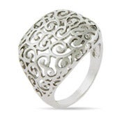 Swirling Scroll Filigree Square Ring