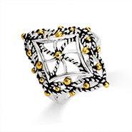Designer Inspired Cable Filigree Diamond Shaped Ring