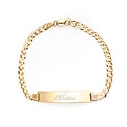 Men's 14K Gold Engravable Cuban Link ID Bracelet