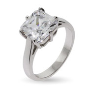 Celebrity Inspired Simple Princess Cut CZ Engagement Ring