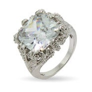 Dazzling Vintage Style 8 Carat Cushion Cut CZ Right Hand Ring