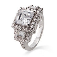 Extravagant Princess Cut CZ Past, Present and Future Ring