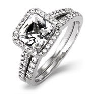 Movie Inspired Princess Cut CZ Engagement Ring Set