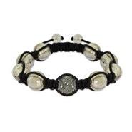 Gray Pave Austrian Crystal Shamballa Inspired Bead Bracelet