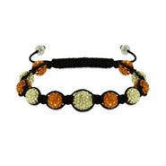 Shades of Summer Orange and Yellow Austrian Crystal Shamballa Inspired Bracelet