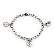 3 Stone Family of Hearts Custom Birthstone Bracelet