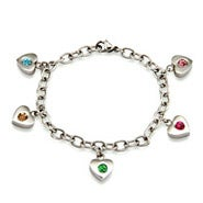 5 Stone Family of Hearts Custom Birthstone Bracelet