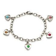 5 Stone Family of Hearts Custom Birthstone Bracelet
