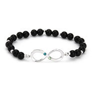 Two Stone Onyx Beaded Custom Birthstone Infinity Bracelet