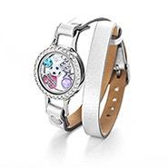 Silver Wrap Bracelet with CZ Build A Charm Floating Locket