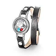 Black Wrap Bracelet with CZ Build A Charm Floating Locket
