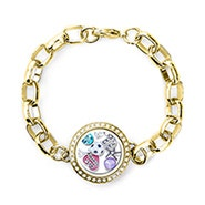 Gold CZ Round Floating Locket Link Bracelet