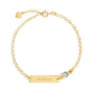 Custom Bezel Set Birthstone Gold Name Bar Bracelet
