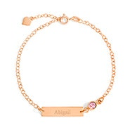 Custom Bezel Set Birthstone Rose Gold Name Bar Bracelet
