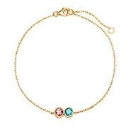 2 Stone Bezel Set Gold Birthstone Bracelet
