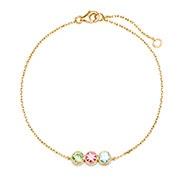 3 Stone Birthstone Bezel Set Gold Bracelet