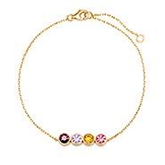 4 Stone Birthstone Bezel Set Gold Bracelet