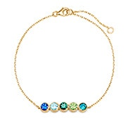 5 Stone Birthstone Bezel Set Gold Bracelet