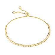 Thin Cubic Zirconia Gold Bolo Tennis Bracelet