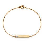 2 Stone Birthstone Gold Name Bar Bracelet