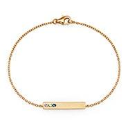 3 Stone Birthstone Gold Name Bar Bracelet
