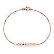 5 Stone Birthstone Rose Gold Name Bar Bracelet