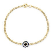 Gold CZ Evil Eye Bracelet