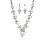 Elegant Red Carpet Style Round and Marquise Cut CZ Necklace and Earrings Set