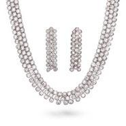 Three Row CZ Necklace & Earring Set