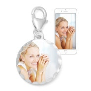 Petite Round Color Photo Sterling Silver Charm