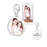 Personalized Petite Round Photo Wedding Bouquet Charm