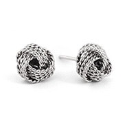 Designer Style Textured Knot Mesh Sterling Silver Earrings