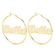 Large Gold Classic Style Script Name Earrings